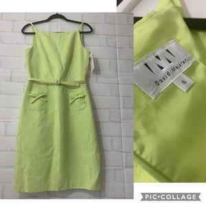 David Meister Textured Floral Lime Green Dress
